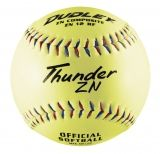 "Dudley Thunder ZN Red & Blue Stitch Slowpitch Softball, Composite Cover, Poly Center, 0.44 Cor, 12"", Dozen"