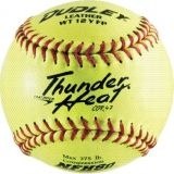 "Dudley Thunder Heat NFHS Fastpitch Softball, Leather Cover, Poly Center, 0.47 Cor, 12"", Dozen"