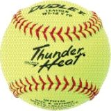 "Dudley Thunder Heat Collegiate Fastpitch Softball, Leather Cover, Poly Center, 0.47 Cor, 12"", Dozen"