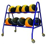21 Ball Carrier with steel frame crossbars and casters 36H x 22W x 39L royal blue