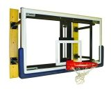 Basketball Wall Mount Adjustable Shooting Station with 3' Face of Bank Glass Backboard Revolution Breakaway Rim with Hideaway Net Attachment