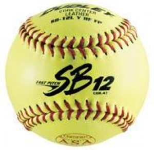 "Dudley Thunder Heat ASA/NFHS Dual Stamp Fastpitch Softball, Leather Cover, Cork Center, 0.47 Cor, 12"", Dozen"