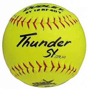 "Dudley Thunder SY SCMAF Slowpitch Softball, Synthetic Cover, Poly Center, 0.4 Cor, 12"", Dozen"