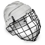 Helmet With Wire Face Cage, Senior, White