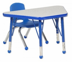 "Trapezoid Activity Table - Toddler Legs (18""W X 30""L) with One Blue School Stack Chair Set -14"" Seat Height"