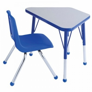 "Trapezoid Activity Table - Standard Legs (18""W X 30""L) with One Blue School Stack Chair Set -18"" Seat Height"