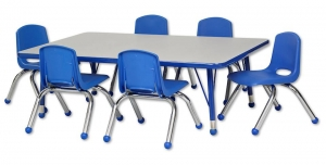 "Rectangular Activity Table - Toddler Legs (30""W x 48""L) & Six Blue School Stack Chairs Set -12"" Seat Height"