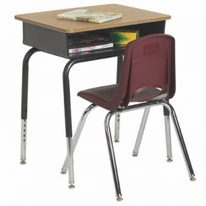 "Desk and Chair Set includes Open Front Desk with Metal Book Box, 24""x18"" and burgundy chair, 18"" high"