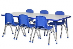 "Rectangular Activity Table - Standard Legs (30""W x 60""L) & Six Blue School Stack Chairs Set -14"" Seat Height"