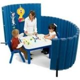 "Angeles  72""L X 30""H SoundSponge Quiet Dividers Wall with 2 Support Feet - Slate Blue"