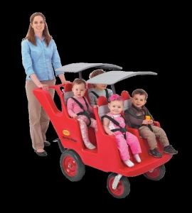 Angeles Bye-Bye Buggy 4-Passenger with all terrain Fat Tires -Red w/gray seat cushions