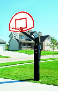 "Power Adjust Playground Basketball System, 35-1/2"" x 54"" Aluminum Backboard"