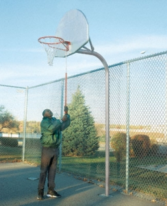 "Playground Basketball Package with Fan-Shaped Unpainted Aluminum 35.5"" x 54"" Backboard + Court Protector Kit"