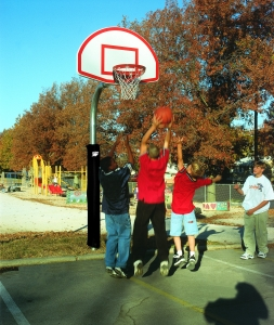 "Playground Basketball System, 4.5"" Pole, Aluminum Fan 35.5"" x 54"" Backboard, Playground Goal"