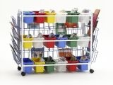 Deluxe Book Browser Cart with Book Displays & 18 Small Tubs