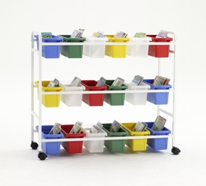 Book Browser Cart with 18 Small Tubs