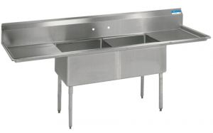 "High Quality Two Compartment Sink, 18"" Drainboards, 18 gauge T-304 Stainless Steel, 72""W x 23-13/16""D, Bowl size 18""W x 12""D x 18""H"