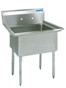 "High Quality One Compartment Sink, No Drainboards, 18 gauge T-304 Stainless Steel, 21""W x 25-13/16""D, Bowl size 20""W x 12""D x 16""H"