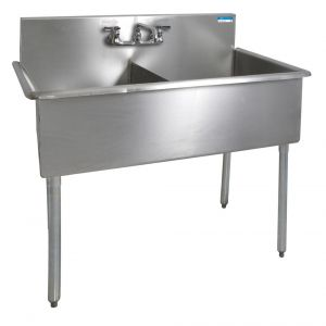 "Two Compartement Budget Sink, 39""W x 21-1/2""D, Bowl size 18"" x 12"" x 18"""