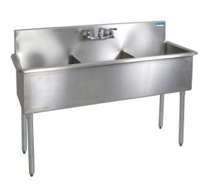 "Three Compartment Budget Sink, 57""W x 21-1/2""D, Bowl size 18"" x 12"" x 18"""