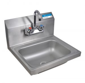 "Hand Sink With Faucet, T-304 Stainless Steel, 17""W x 15-1/2""D x 15""H, Bowl size: 14"" x 10"" x 5."""