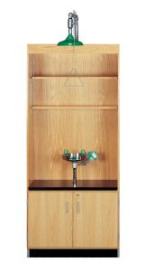 "Shower/ Eyewash Station, Almond Plastic Laminate Top, 36""W x 22""D x 84""H, Oak"