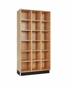 CUBBY CABINET,OAK,18 EQUAL OPENINGS