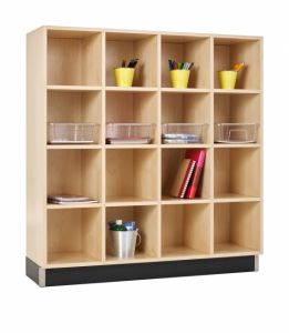 CUBBY CABINET,MAPLE,16 EQUAL OPENINGS