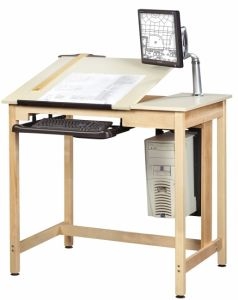 "Drawing Science Lab Table System With 2 Piece Top, Almond Plastic Laminate Top, 42""W X 30""D X 393/4""H"