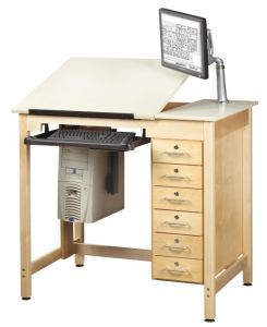 "Drawing Science Lab Table System With 2 Piece Top And 6 Drawers, Almond Plastic Laminate Top, 42""W X 30""D X 393/4""H"