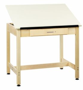 "Drawing Science Lab Table With 1 Piece Top And Large Drawer, Almond Plastic Laminate Top, 36""W X 24""D X 30""H"