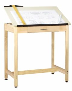 "Drawing Science Lab Table With 1 Piece Top And Large Drawer, Almond Plastic Laminate Top, 36""W X 24""D X 36""H"