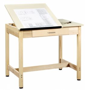 "Drawing Science Lab Table With 2 Piece Top And Large Drawer, Almond Plastic Laminate Top, 36""W X 24""D X 30""H"