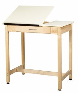 "Drawing Science Lab Table With 2 Piece Top And Large Drawer, Almond Plastic Laminate Top, 36""W X 24""D X 36""H"