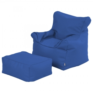 SoftZone Bean Bag Chair and Ottoman Set - Blue