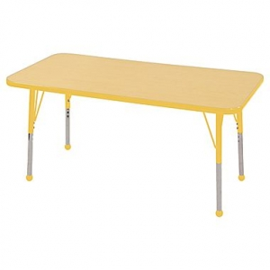 "24""x48"" Rectangular TMold Activity Table, Maple/Yellow Standard Ball"