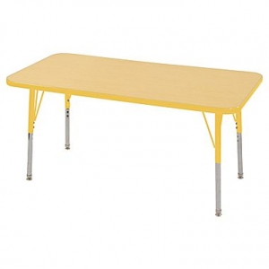 "24""x48"" Rectangular TMold Activity Table, Maple/Yellow Standard Swivel"