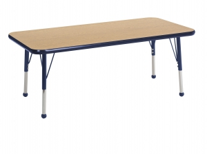 "24""x48"" Rectangular TMold Activity Table, Oak/Navy Standard Ball"