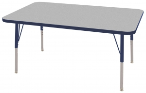 "30""x48"" Rectangular TMold Activity Table, Grey/Navy Standard Swivel"