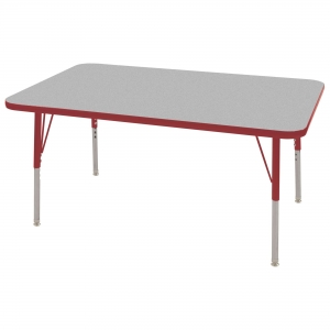 "30""x48"" Rectangular TMold Activity Table, Grey/Red Standard Swivel"