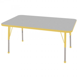 "30""x48"" Rectangular TMold Activity Table, Grey/Yellow Standard Ball"