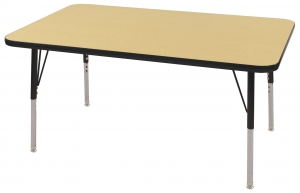 "30""x48"" Rectangular TMold Activity Table, Maple/Black Standard Swivel"