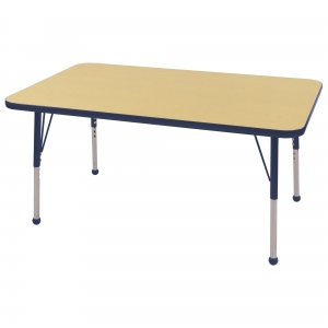 "30""x48"" Rectangular TMold Activity Table, Maple/Navy Standard Ball"