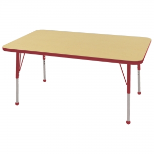 "30""x48"" Rectangular TMold Activity Table, Maple/Red Standard Ball"