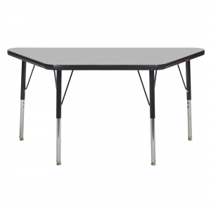 "24""x48"" Trapezoid TMold Activity Table, Grey/Black Standard Swivel"