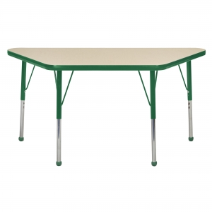 "24""x48"" Trapezoid TMold Activity Table, Maple/Green Standard Ball"