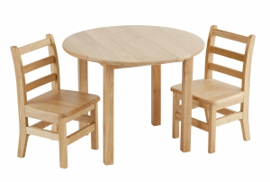 "30"" Round Hardwood Table and 2-3 Rung Chairs"