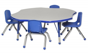 "Clover Table GBL-TB & 4-10""BL Chairs"
