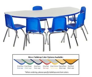 "Kidney Table GBL-SB & 6-16""BL Chairs"