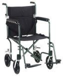 Transport wheelchair, aluminum, 17 inch seat, blue